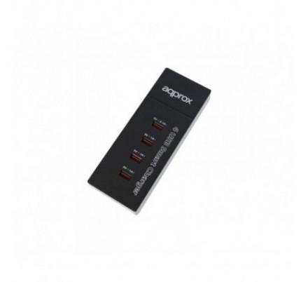 CARGADOR VIAJE/PARED 4 PUERTOS USB 1x2A + 3x1A BLACK APPROX
