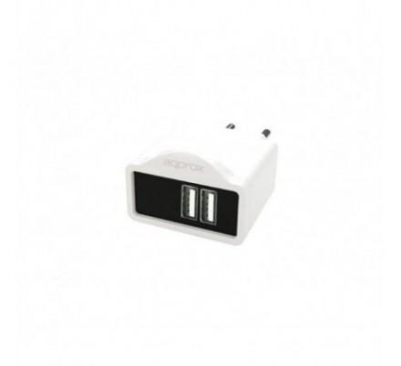 CARGADOR USB DE VIAJE/PARED DUAL 2A WHITE APPROX