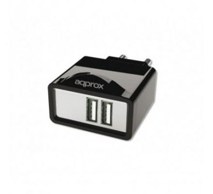 CARGADOR USB DE VIAJE/PARED DUAL 2A BLACK APPROX