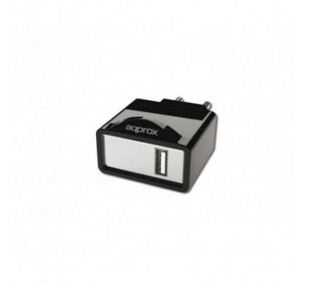CARGADOR USB DE VIAJE/PARED 1A BLACK APPROX