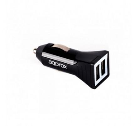 CARGADOR USB DUAL PARA COCHE 3.1A BLACK APPROX