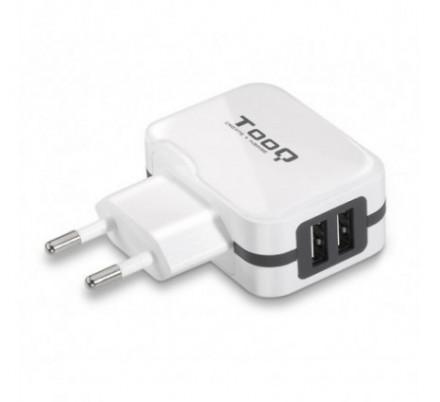 CARGADOR USB DE VIAJE/PARED 2xUSB (3.4A) BLANCO TOOQ